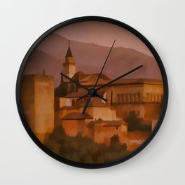 Alhambra Vintage Travel Poster Granada Spain Wall Clock