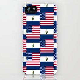 Mix of flag:  Usa and Salvador iPhone Case