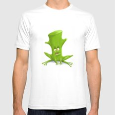 Log in a Frog MEDIUM White Mens Fitted Tee