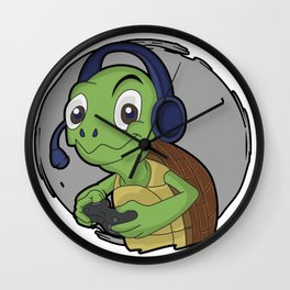 gaming turtle animal online cool video gamer kids gift idea Wall Clock