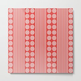 Geometric White on Sunny Summer Hot Red Vertical Stripes & Circles Metal Print