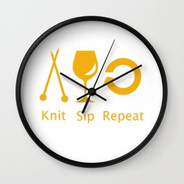 Knitting and Wine Wall Clock