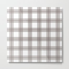 Farmhouse Plaid in Taupe Brown and White Metal Print