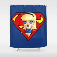supergirl Shower Curtains featuring Chibi Supergirl by artwaste