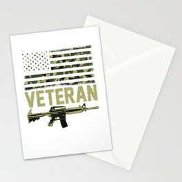 Military Veteran Camo American Flag Soldier Rifle Stationery Cards