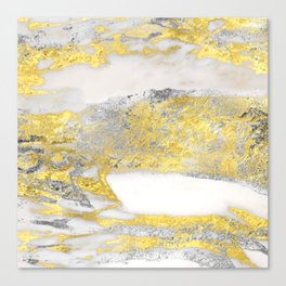 Silver and Gold Marble Design Canvas Print
