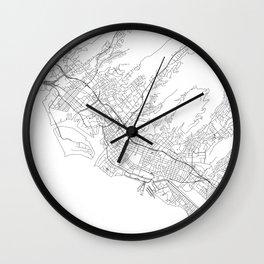 Honolulu White Map Wall Clock