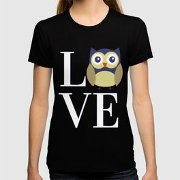 LOVE with Cute Owl in Blue Beige and Taupe T-shirt