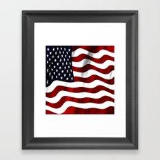 Wavy American Flag Framed Art Print