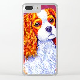 Colorful Cavalier King Charles Spaniel Clear iPhone Case