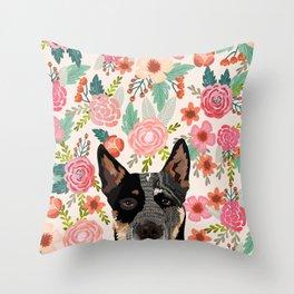 Australian Cattle Dog blue heeler floral pet portrait art print and dog gifts Throw Pillow