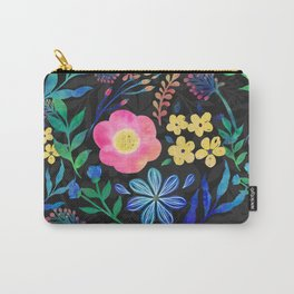 Pretty Girly Pink Blue Floral Gray design Carry-All Pouch