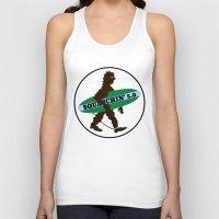 sasquatch Tank Tops featuring Sasquatch Squatchin' Surfing Bigfoot by mailboxdisco