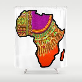 Orange Dashiki Africa Map Shower Curtain