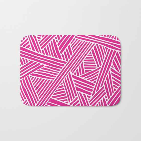 Abstract pink & white Lines and Triangles Pattern-Mix and Match with Simplicity of Life Bath Mat