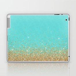 Sparkling gold glitter confetti on aqua teal damask background Laptop & iPad Skin