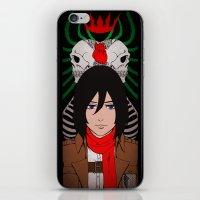 shingeki no kyojin iPhone & iPod Skins featuring Shingeki no Kyojin - Mikasa card by kamikaze43v3r