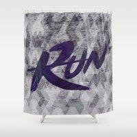 run Shower Curtains featuring Run by Abner Melara