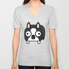 Boston Terrier Loaf - Black and White Dog Unisex V-Neck