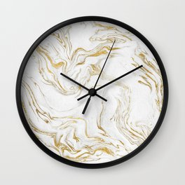 Liquid gold marble Wall Clock