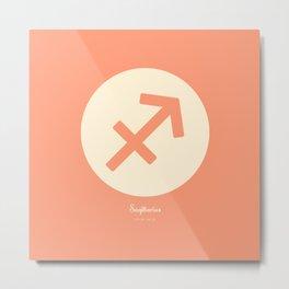 Sagittarius Symbol Pink Metal Print