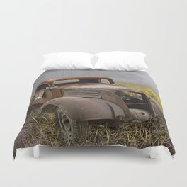 Vintage Chevy Pickup for Sale in a Field of Grass Duvet Cover