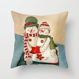 Mr. And Mrs. Snowman Vintage Throw Pillow