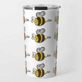 Hand drawn black yellow stripes cute honey bee illustration Travel Mug