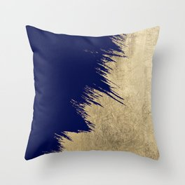 Navy blue abstract faux gold brushstrokes Throw Pillow