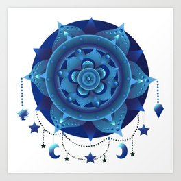 Blue monochromatic mandala dream catcher Art Print