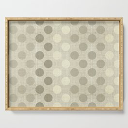 """Nude Burlap Texture and Polka Dots"" Serving Tray"