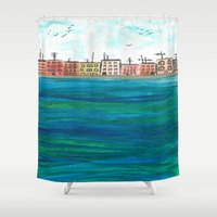 venice Shower Curtains featuring Venice by Afriquita