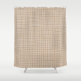White and Brown Weave Pattern Shower Curtain