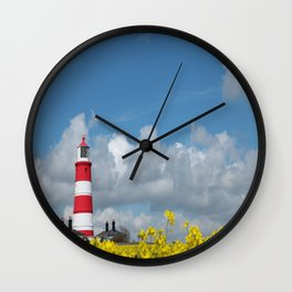 Happisburgh Lighthouse surrounded by Yellow flowering Oil Seed Rape Wall Clock