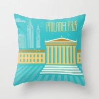 philadelphia Throw Pillows featuring Philadelphia by Marina Design