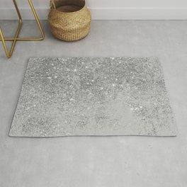 Elegant chic faux silver glitter gray marble Rug
