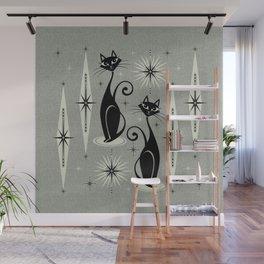 Mid Century Meow Retro Atomic Cats - Gray Wall Mural