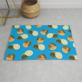 Lime and Clementine Fruits Pattern on Cyan Background Rug