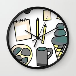 Stress Free - Doodle Zine Page Wall Clock