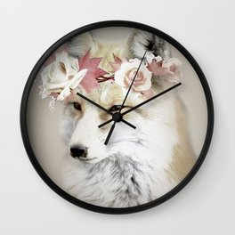 Flower Fox Wall Clock
