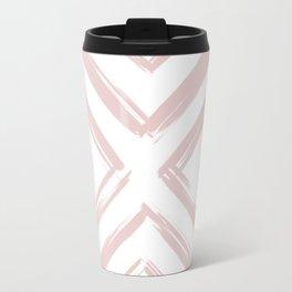 Minimalistic Rose Gold Paint Brush Triangle Diamond Pattern Travel Mug