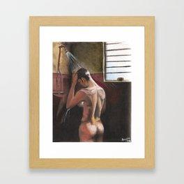 Nude in Shower (Dominic Monaghan) Framed Art Print