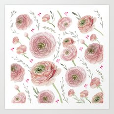 Ranunculus White Art Print