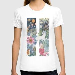 fairy tale alphabet. Letter H with unicorn T-shirt