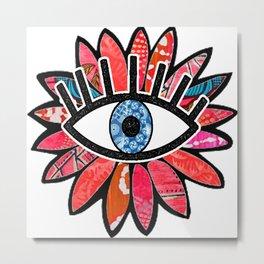 Greek Evil Eye Pink Flower Metal Print