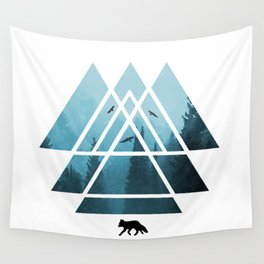The Courage To Stand Alone - Turquoise Sacred Geometry Triangles Wall Tapestry