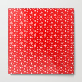 Aurora Red and White Winter 2016 Snowflakes Pattern Metal Print