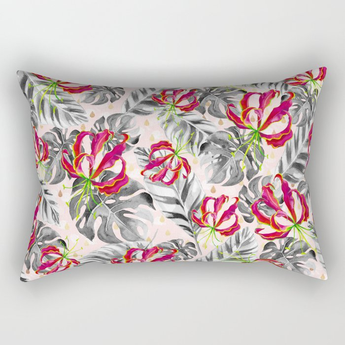 Tropical plants pattern and watercolor flowers Rectangular Pillow