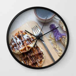 Waffles with black coffee Wall Clock