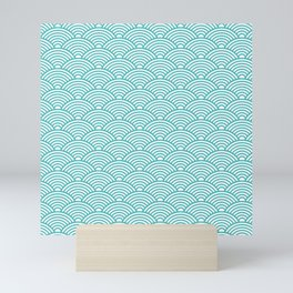 Japanese Waves (Teal & White Pattern) Mini Art Print